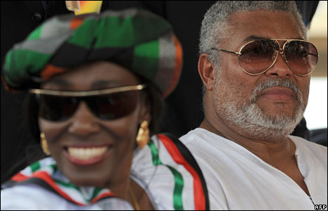 Former President J.J. Rawlings and his Wife