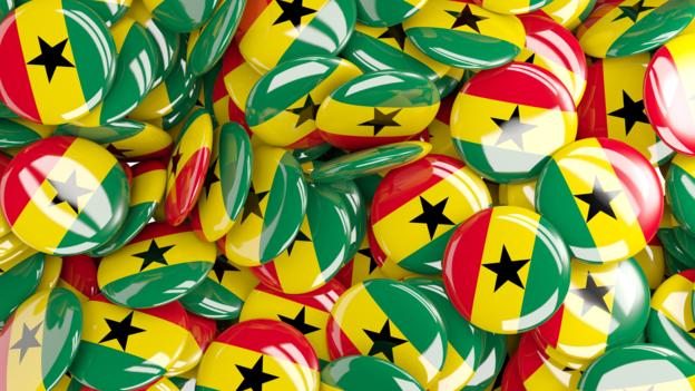 Background with round pins with flag of ghana