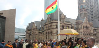 ghana independence flag raising toronto